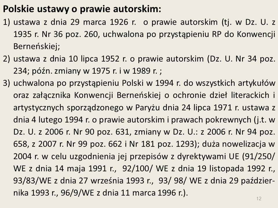Polskie ustawy o prawie autorskim: