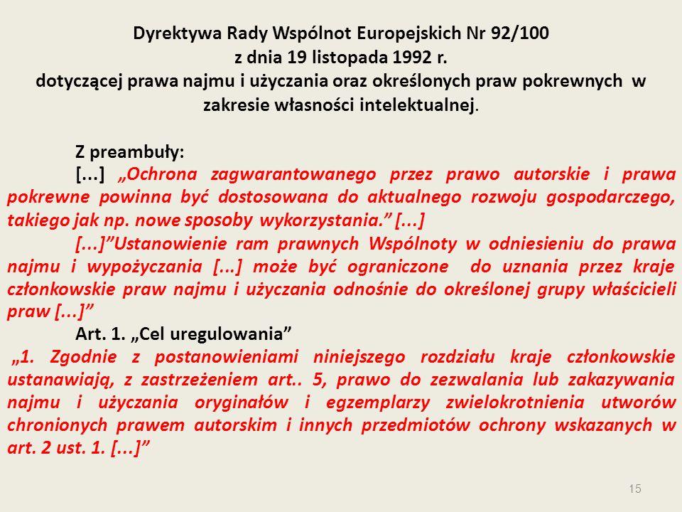 Dyrektywa Rady Wspólnot Europejskich Nr 92/100