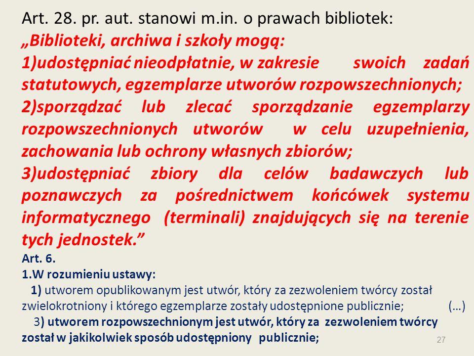 Art. 28. pr. aut. stanowi m.in. o prawach bibliotek: