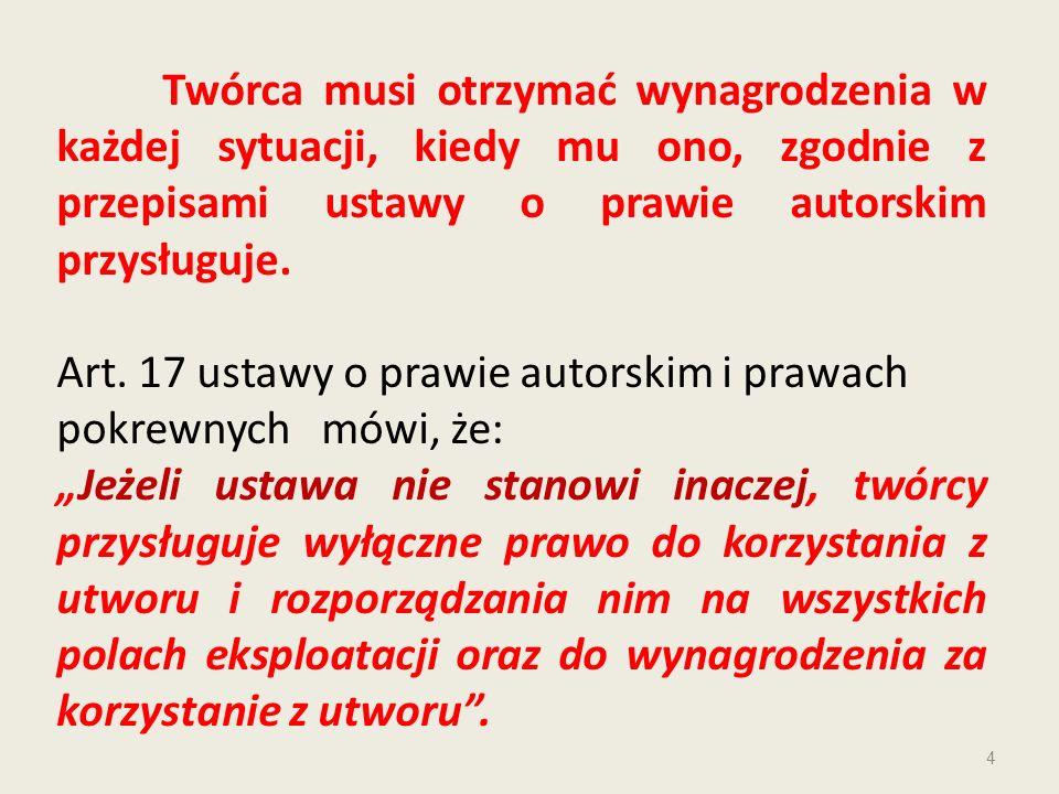 Art. 17 ustawy o prawie autorskim i prawach pokrewnych mówi, że:
