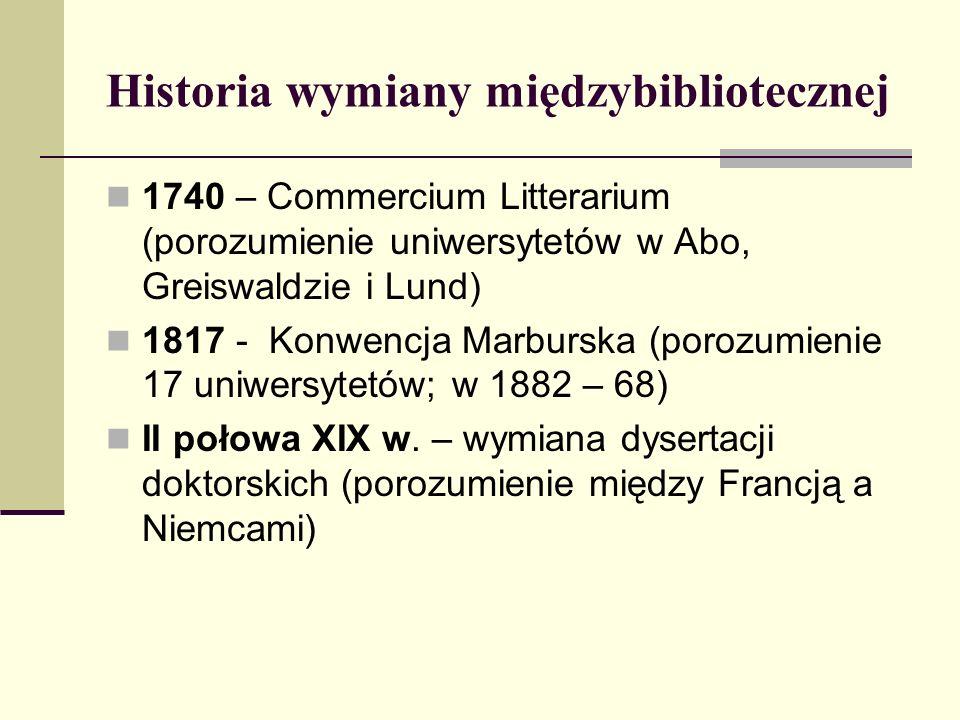 Historia wymiany międzybibliotecznej