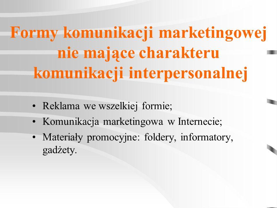Formy komunikacji marketingowej nie mające charakteru komunikacji interpersonalnej