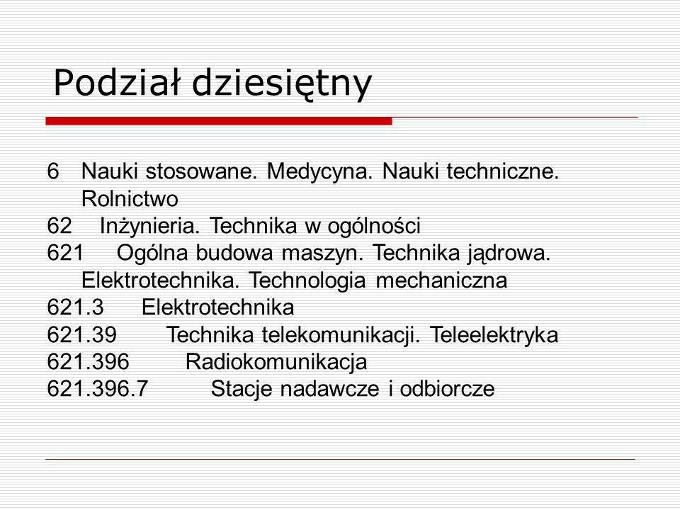 Podział dziesiętnyNauki stosowane. Medycyna. Nauki techniczne. Rolnictwo. Inżynieria. Technika w ogólności.