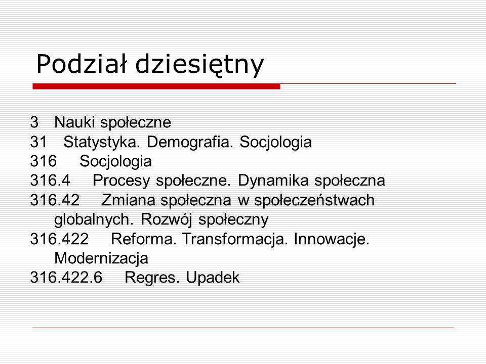 Podział dziesiętny Nauki społeczne Statystyka. Demografia. Socjologia