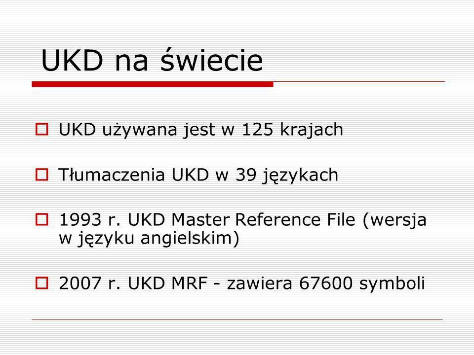 UKD na świecie UKD używana jest w 125 krajach