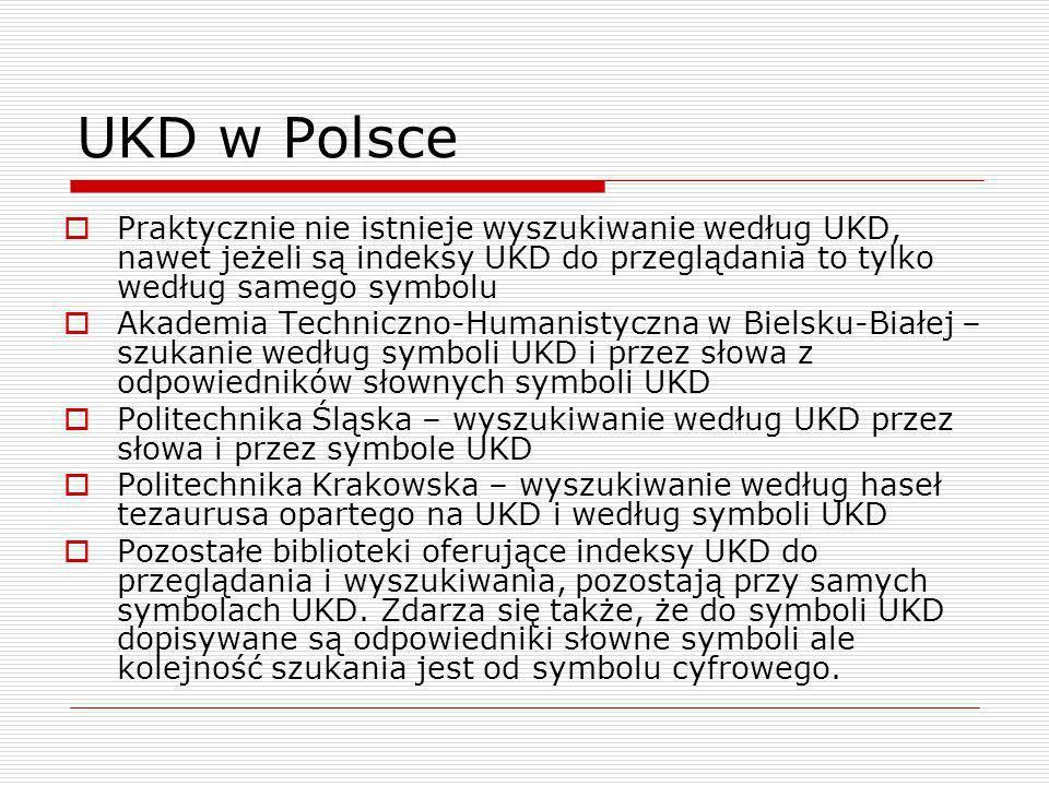 UKD w PolscePraktycznie nie istnieje wyszukiwanie według UKD, nawet jeżeli są indeksy UKD do przeglądania to tylko według samego symbolu.