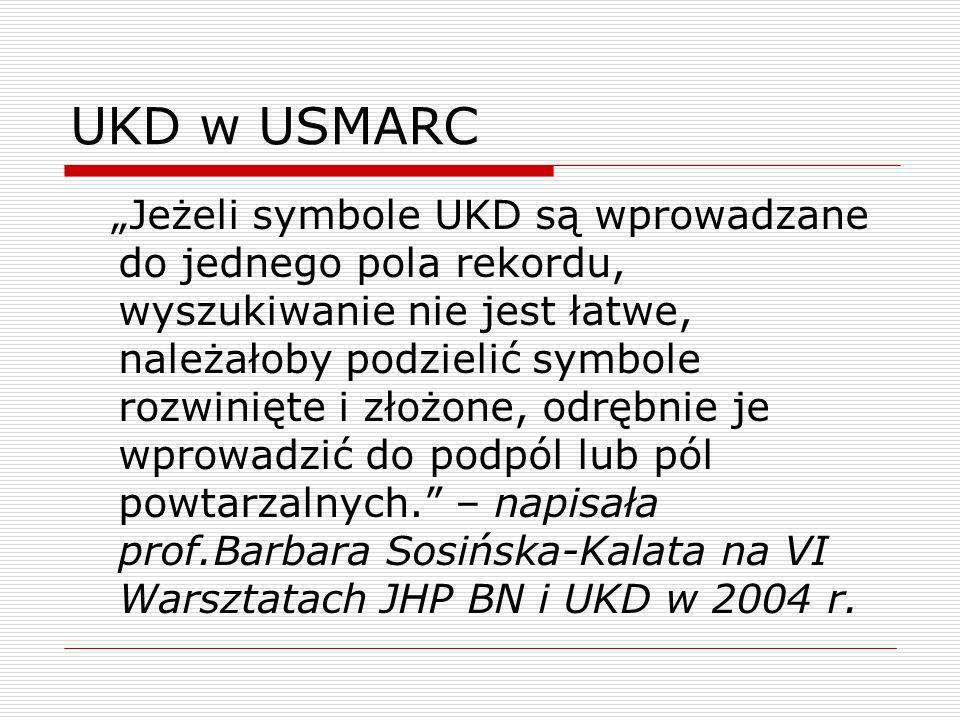 UKD w USMARC