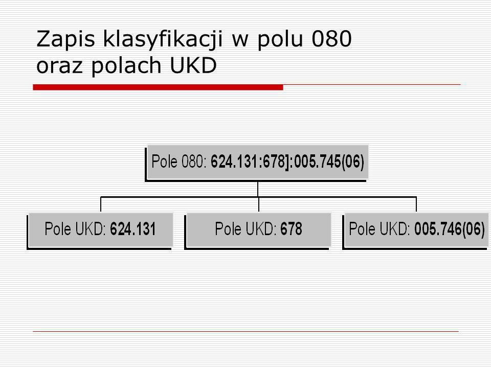 Zapis klasyfikacji w polu 080 oraz polach UKD