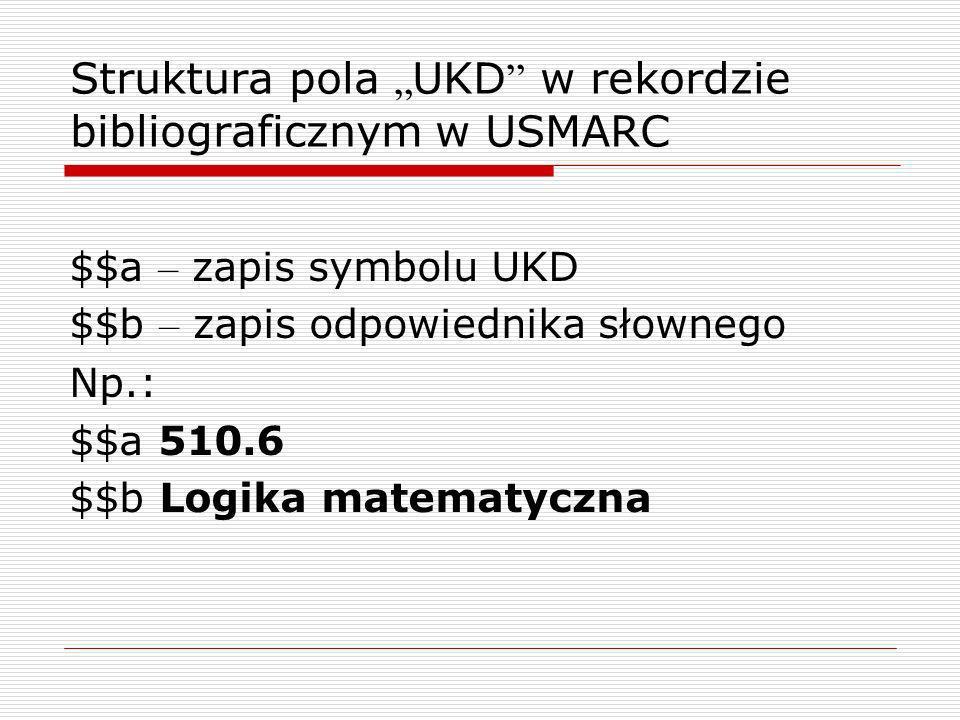 """Struktura pola """"UKD w rekordzie bibliograficznym w USMARC"""