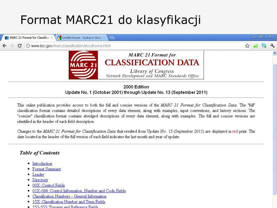 Format MARC21 do klasyfikacji