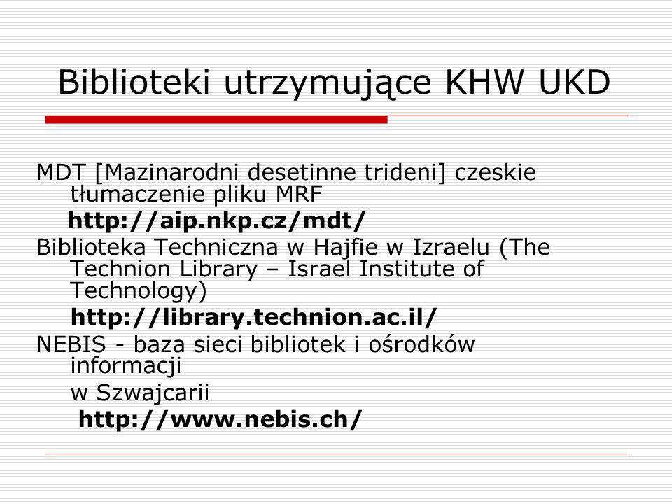 Biblioteki utrzymujące KHW UKD