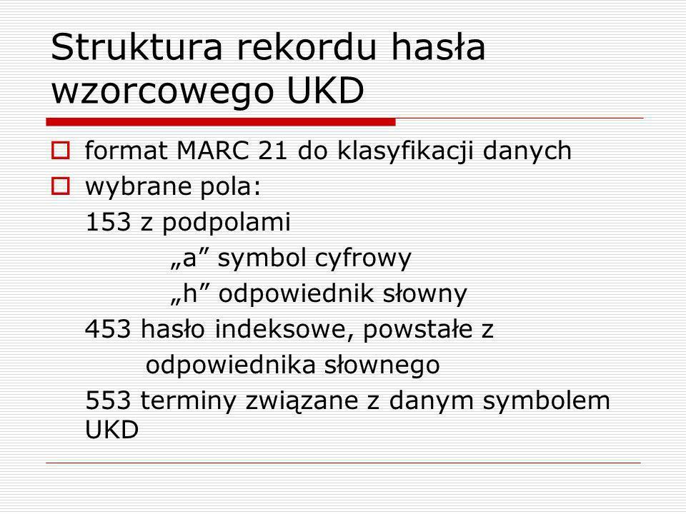 Struktura rekordu hasła wzorcowego UKD