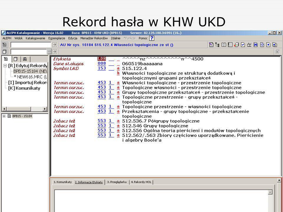Rekord hasła w KHW UKD