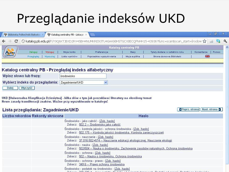 Przeglądanie indeksów UKD