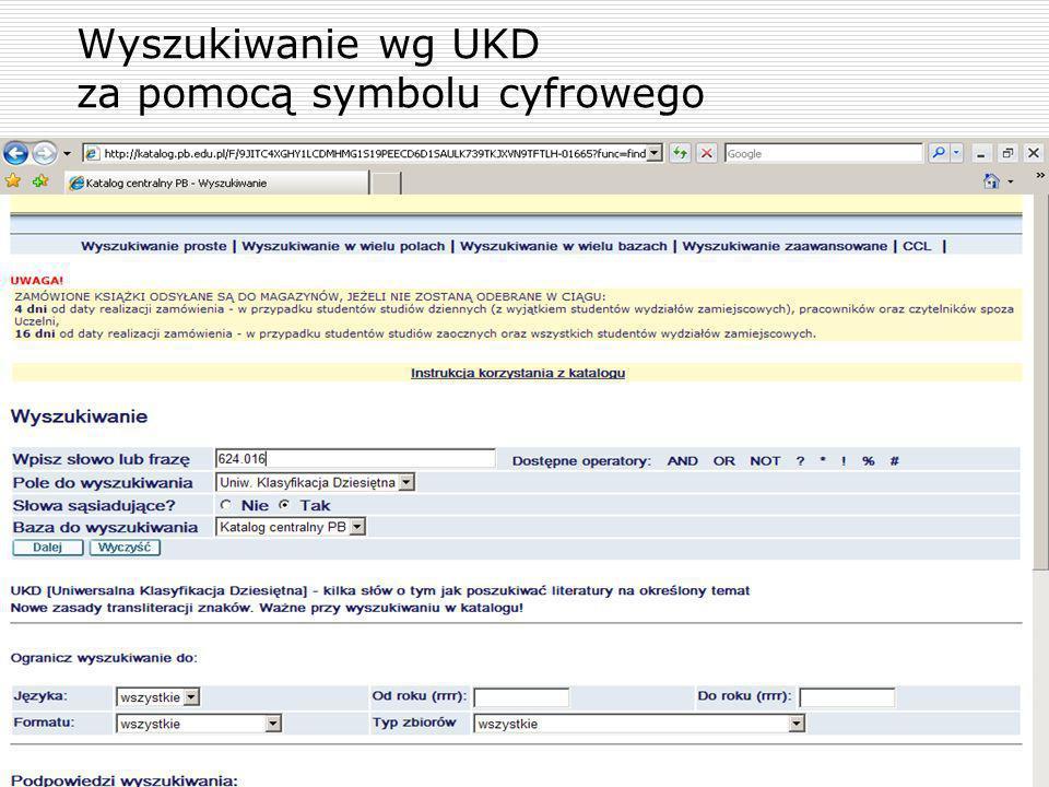 Wyszukiwanie wg UKD za pomocą symbolu cyfrowego