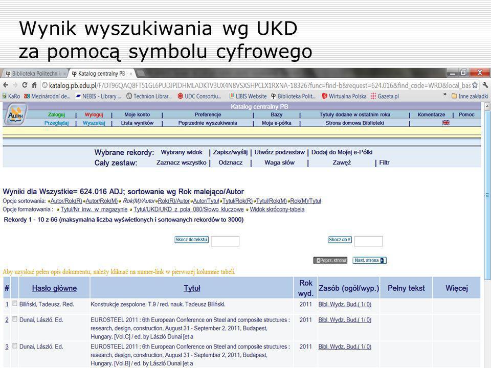 Wynik wyszukiwania wg UKD za pomocą symbolu cyfrowego