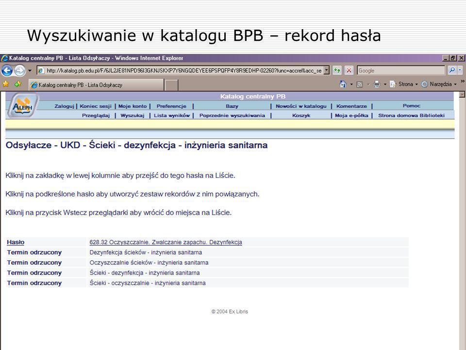 Wyszukiwanie w katalogu BPB – rekord hasła