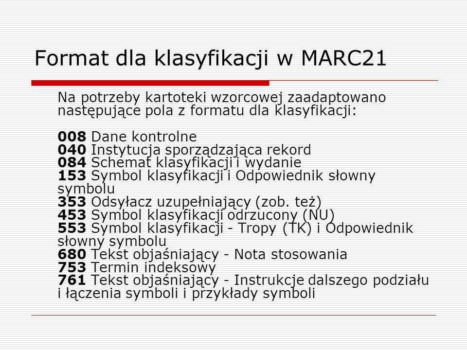Format dla klasyfikacji w MARC21