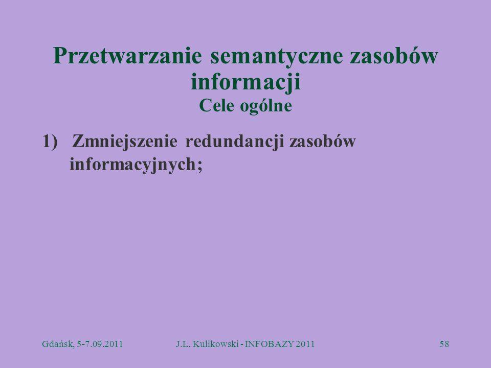 Przetwarzanie semantyczne zasobów informacji Cele ogólne