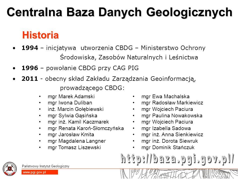 Historia 1994 – inicjatywa utworzenia CBDG – Ministerstwo Ochrony Środowiska, Zasobów Naturalnych i Leśnictwa.