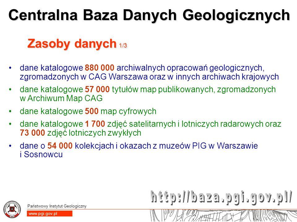 Zasoby danych 1/3 dane katalogowe 880 000 archiwalnych opracowań geologicznych, zgromadzonych w CAG Warszawa oraz w innych archiwach krajowych.