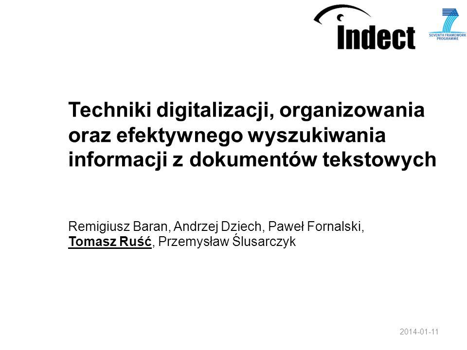 Techniki digitalizacji, organizowania oraz efektywnego wyszukiwania informacji z dokumentów tekstowych