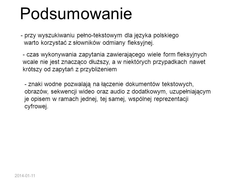 Podsumowanie przy wyszukiwaniu pełno-tekstowym dla języka polskiego