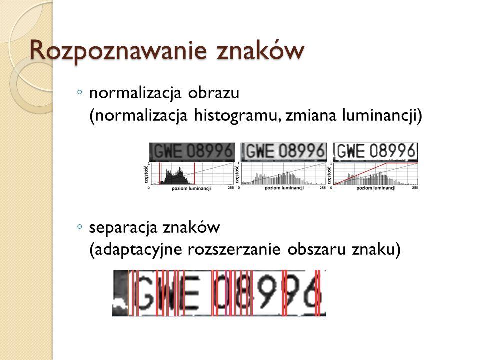 Rozpoznawanie znaków normalizacja obrazu