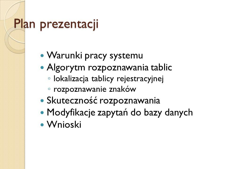 Plan prezentacji Warunki pracy systemu Algorytm rozpoznawania tablic