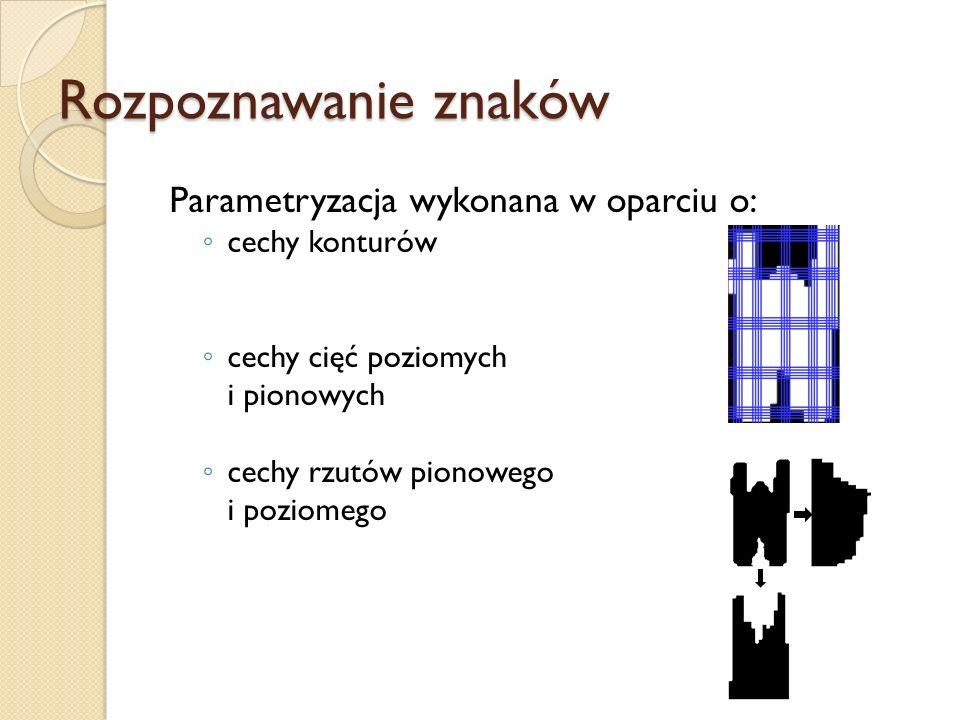 Rozpoznawanie znaków Parametryzacja wykonana w oparciu o: