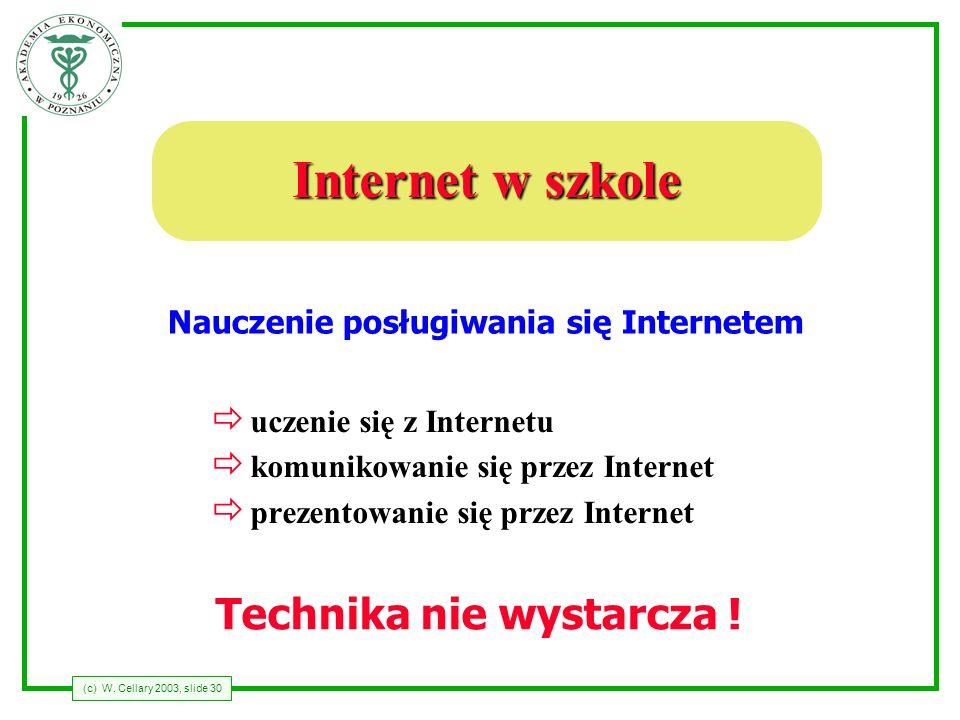 Nauczenie posługiwania się Internetem Technika nie wystarcza !