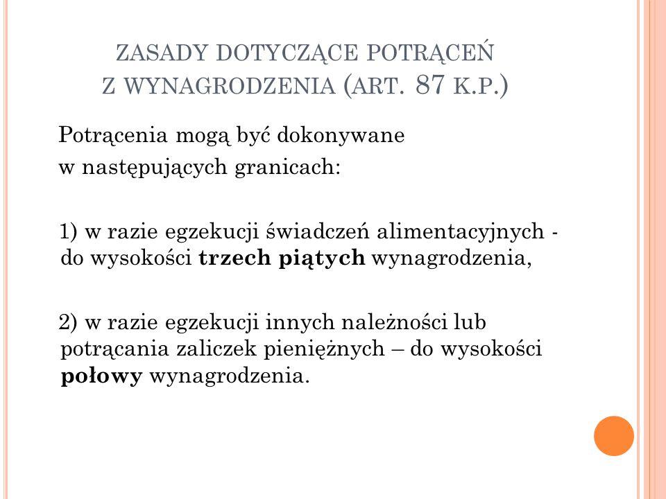 zasady dotyczące potrąceń z wynagrodzenia (art. 87 k.p.)