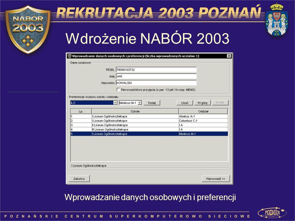 Wdrożenie NABÓR 2003 Wprowadzanie danych osobowych i preferencji