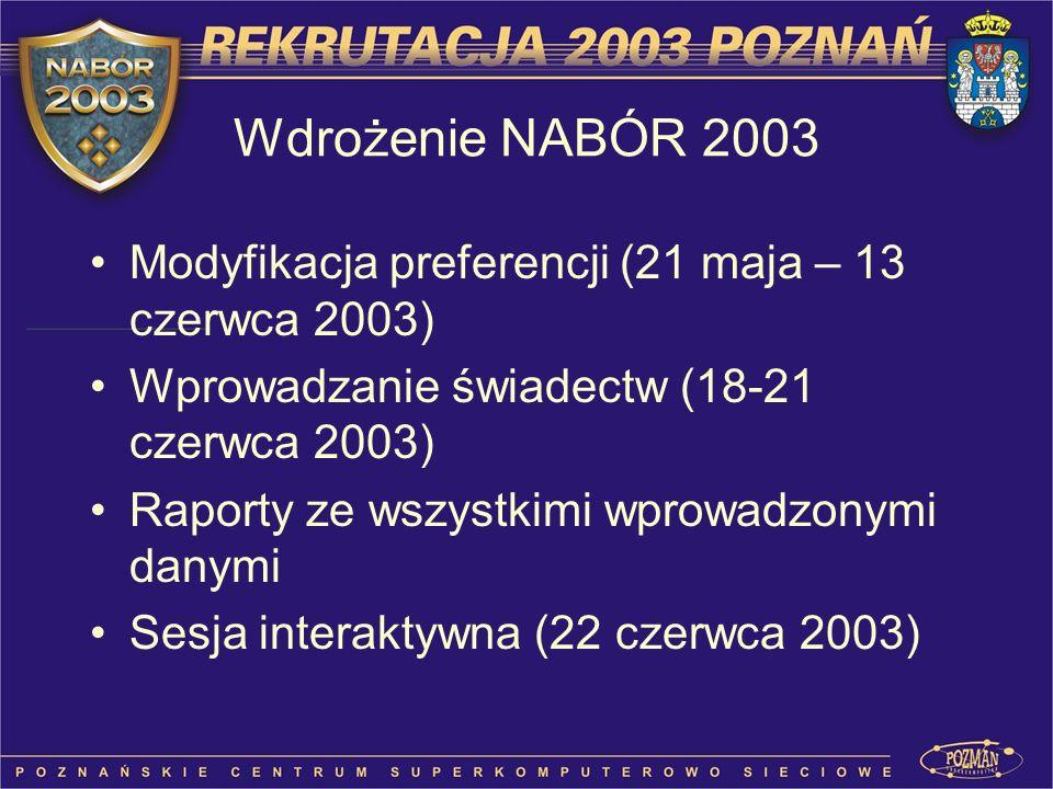 Wdrożenie NABÓR 2003 Modyfikacja preferencji (21 maja – 13 czerwca 2003) Wprowadzanie świadectw (18-21 czerwca 2003)