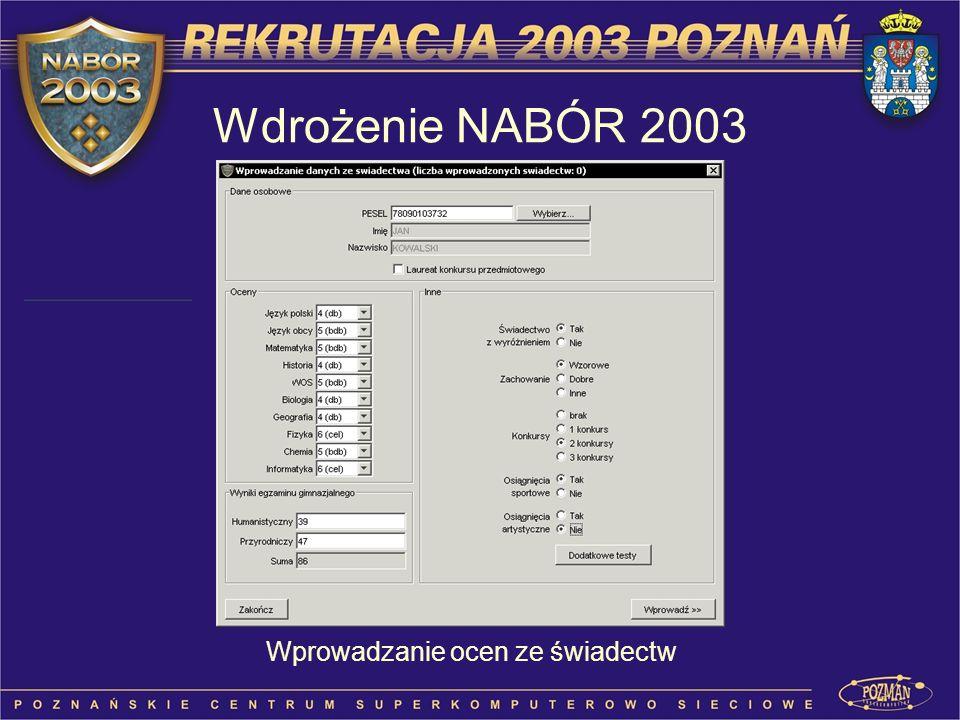 Wdrożenie NABÓR 2003 Wprowadzanie ocen ze świadectw