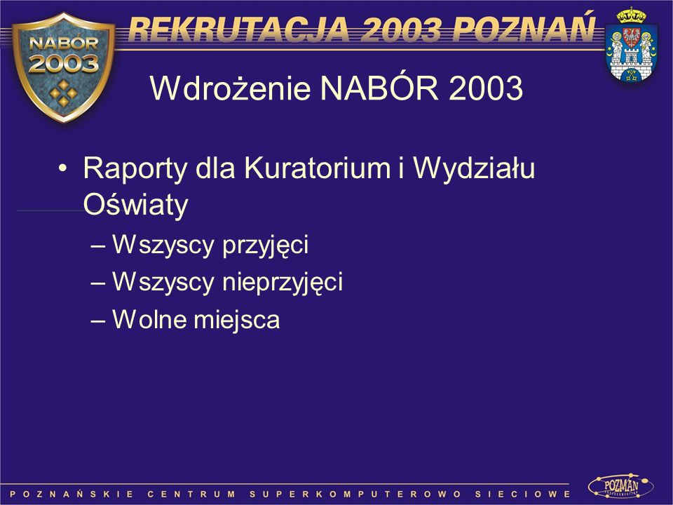 Wdrożenie NABÓR 2003 Raporty dla Kuratorium i Wydziału Oświaty