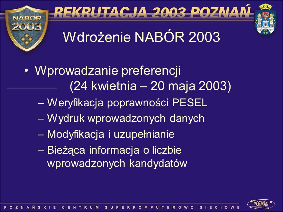 Wdrożenie NABÓR 2003 Wprowadzanie preferencji (24 kwietnia – 20 maja 2003) Weryfikacja poprawności PESEL.