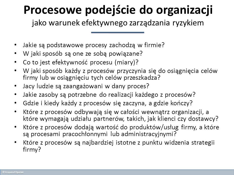 Procesowe podejście do organizacji jako warunek efektywnego zarządzania ryzykiem