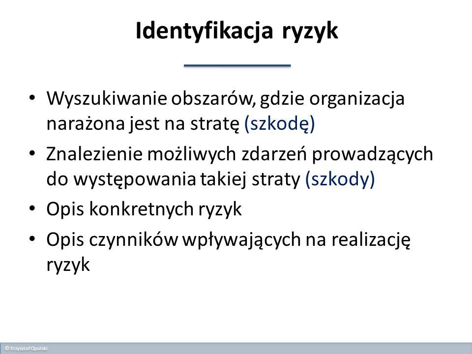Identyfikacja ryzyk Wyszukiwanie obszarów, gdzie organizacja narażona jest na stratę (szkodę)