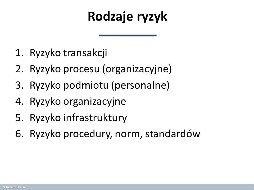 Rodzaje ryzyk Ryzyko transakcji Ryzyko procesu (organizacyjne)