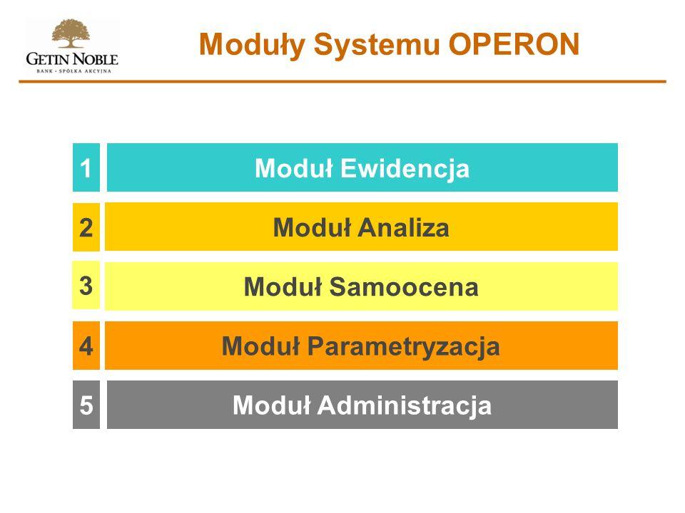 Moduły Systemu OPERON 1 Moduł Ewidencja 2 Moduł Analiza 3