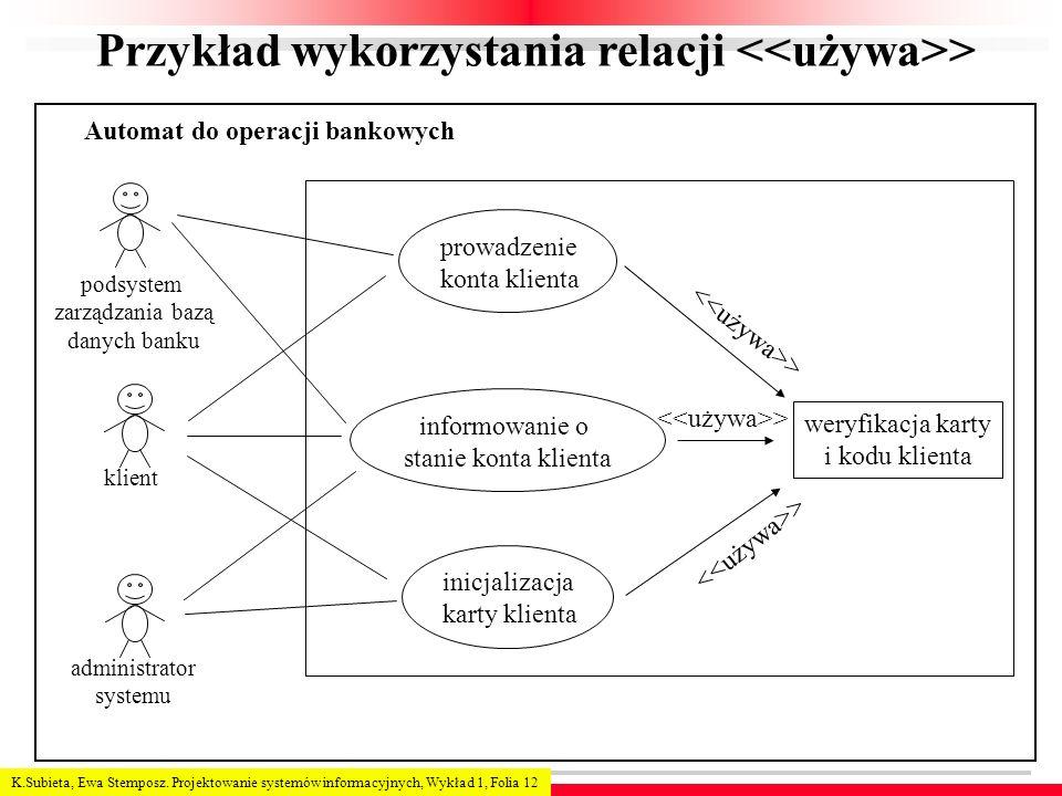 Przykład wykorzystania relacji <<używa>>