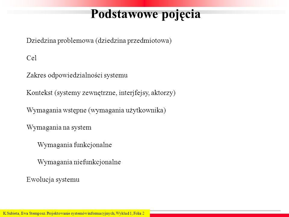Podstawowe pojęcia Dziedzina problemowa (dziedzina przedmiotowa) Cel