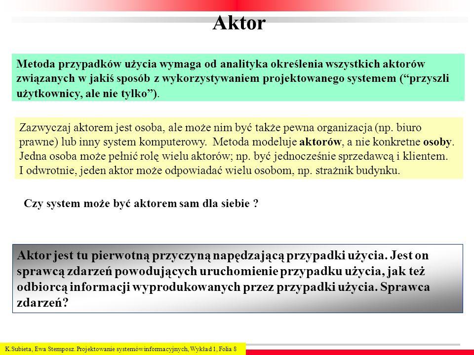 Aktor Metoda przypadków użycia wymaga od analityka określenia wszystkich aktorów.