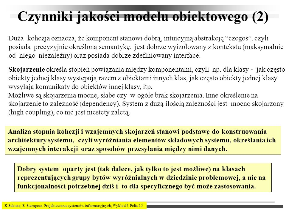 Czynniki jakości modelu obiektowego (2)