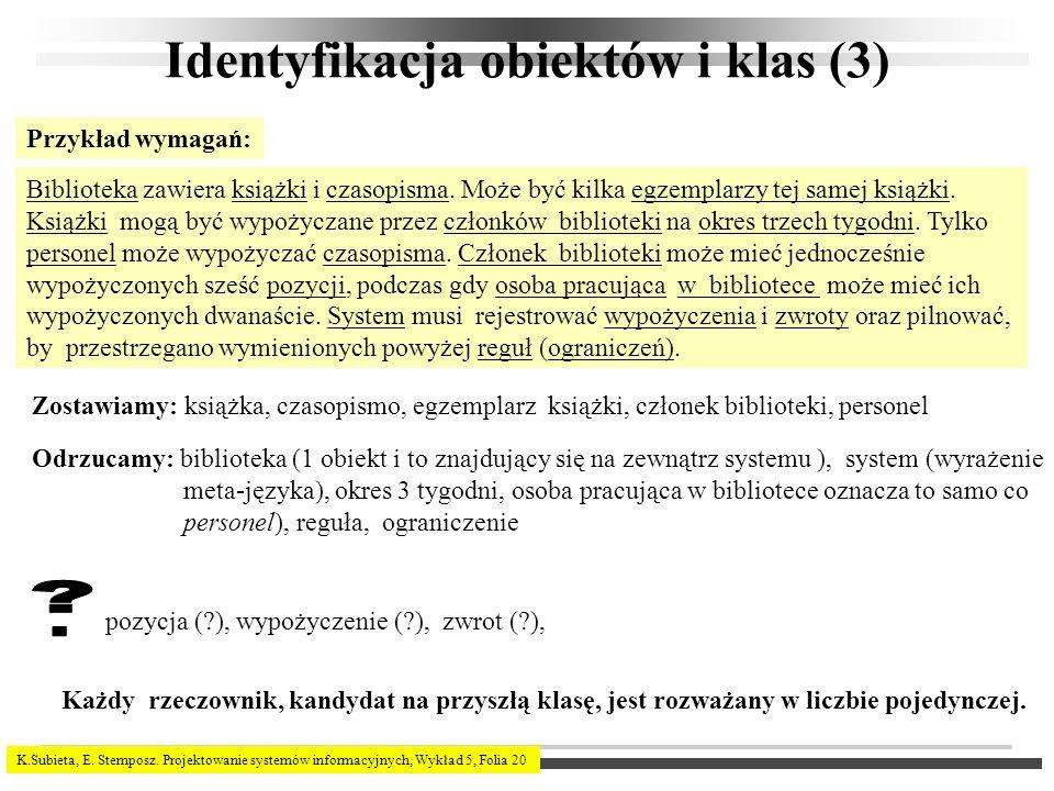 Identyfikacja obiektów i klas (3)