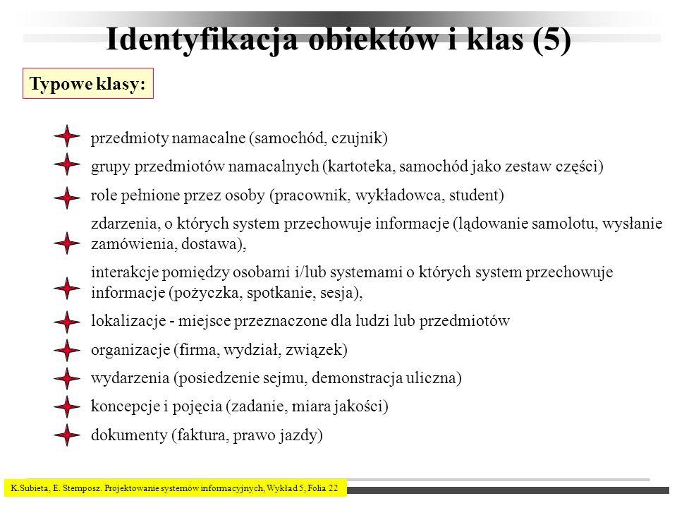 Identyfikacja obiektów i klas (5)
