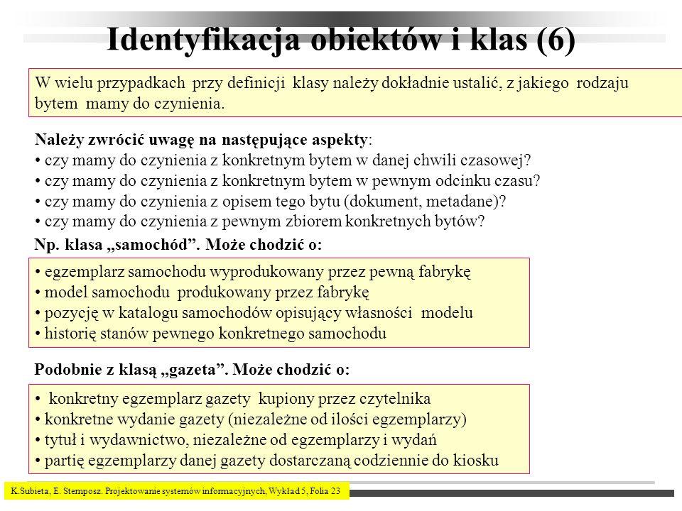 Identyfikacja obiektów i klas (6)