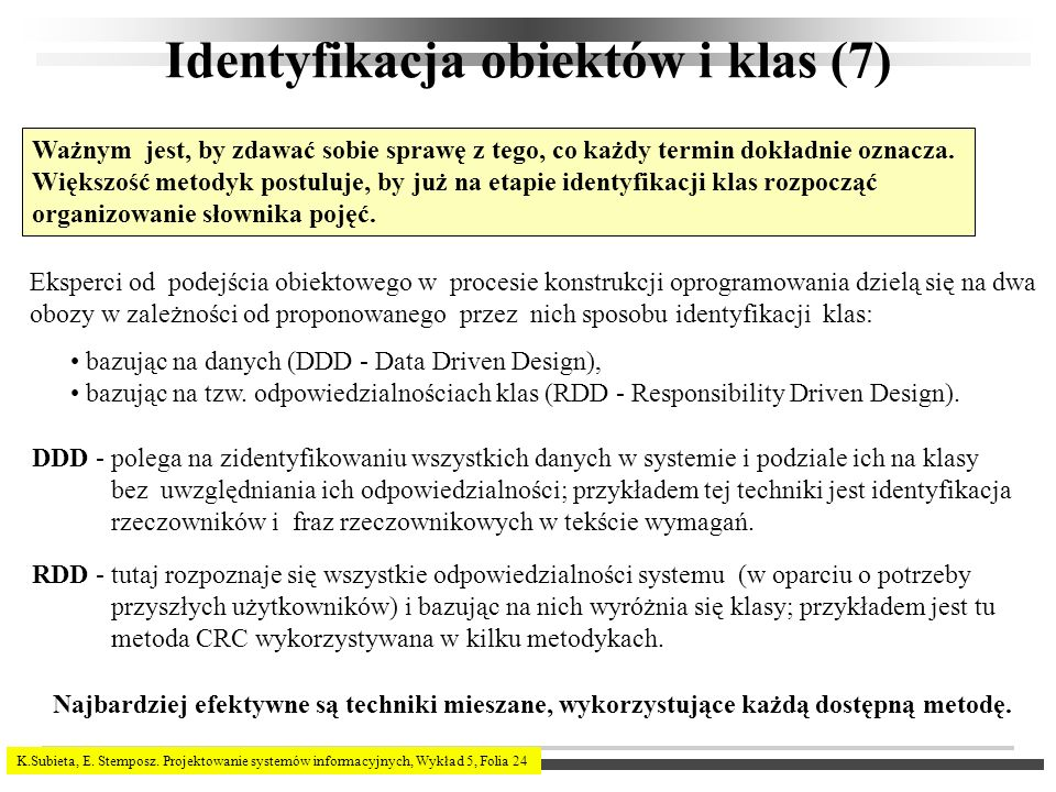 Identyfikacja obiektów i klas (7)