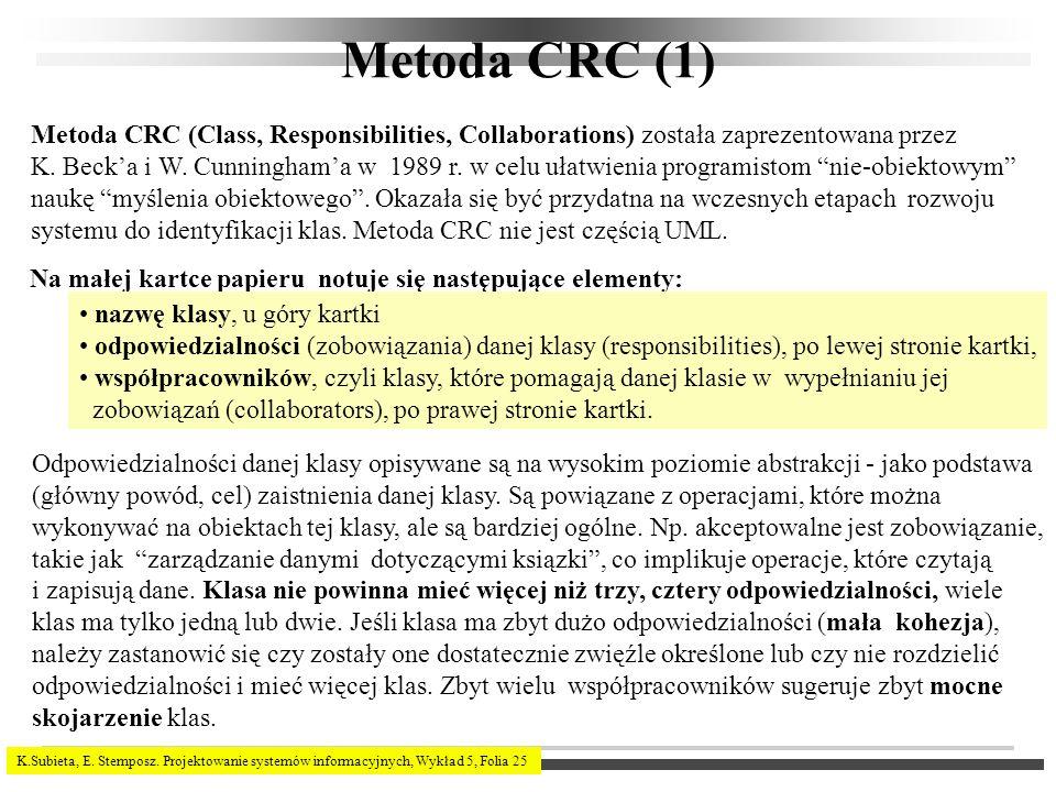 Metoda CRC (1) Metoda CRC (Class, Responsibilities, Collaborations) została zaprezentowana przez.